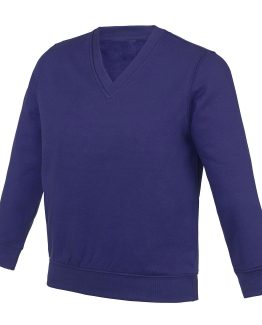 Pull col V molletonné violet pour tenue scolaire